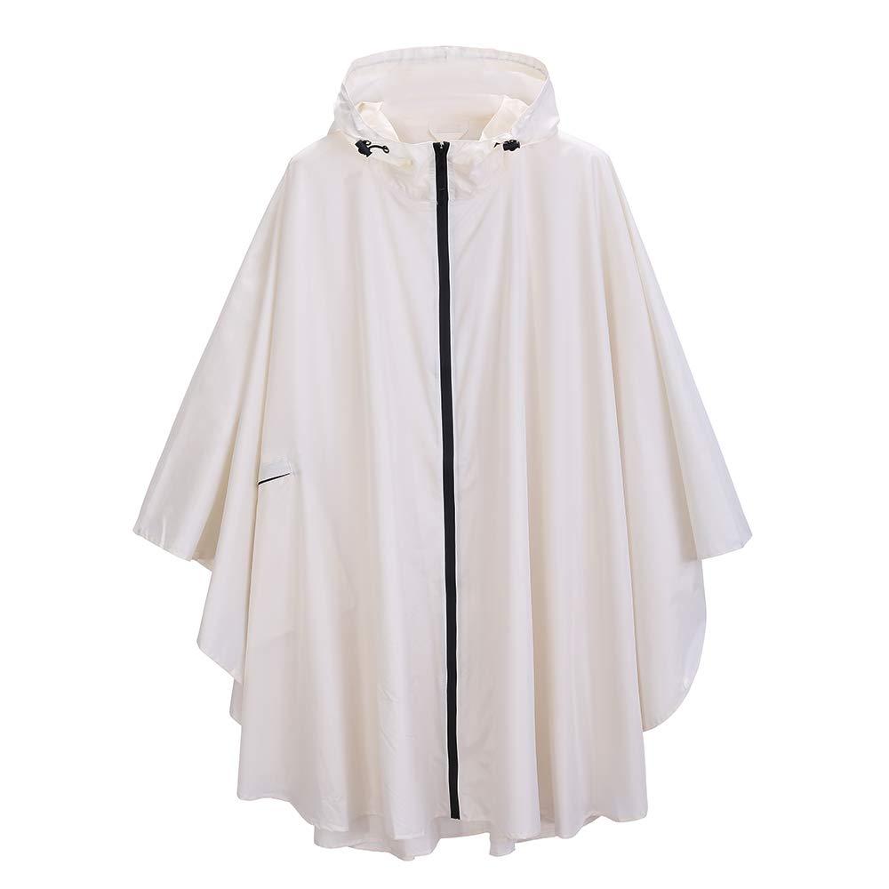 salamra - Fashion Rain Poncho with Side Pocket Unisex Stylish Polyester Potable Waterproof Rain Cape with Hood Zipper Styles