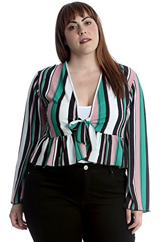 Nouvelle Collection Stripes Print Frill Shrug Teal 26-28 by Nouvelle Collection