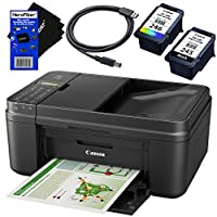 Canon PIXMA MX492 Wireless Office All-in-One Inkjet Printer (Black) with Print, Copy, Scan, Fax & Cloud Link + Black & Color Cartridges + USB Printer Cable + HeroFiber Ultra Gentle Cleaning Cloth