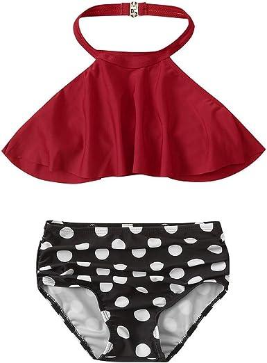 Swimwear Kids Two Piece High Neck Bikini Set Hollow Out Ruffle Girl Bathing Suit