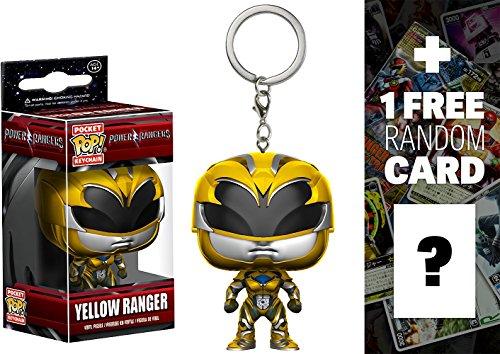 Yellow Ranger: Pocket POP! x Power Rangers Mini-Figural Keychain + 1 FREE Official Japanese Super Sentai Trading Card Bundle (123501)
