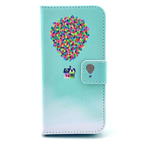 MODEFAN iphone 5C Leather Case,Smart Design Balloon House Pattern PU Leather Wallet Slots Type Magnet Stand TPU Protective Case Cover for Apple iphone 5C