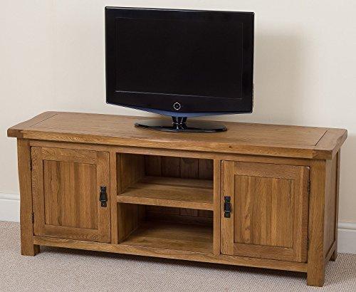 Cotswold Rustic Solid Oak Widescreen TV /DVD Unit, (145 W x 42 D x 60.5 H cm) by OAK FURNITURE KING - Solid Oak Widescreen Tv