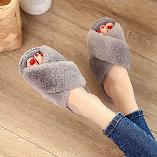 Winzik Women Girls Slippers Soft Plush Anti-Slip Open Toe Flip Flops Autumn Winter Warm Home Indoor Shoes Grey Pl1awBKJ