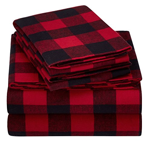 Pinzon 160 Gram Plaid Flannel Sheet Set - Full, Red Buffalo Check (Bed Check Sheets)