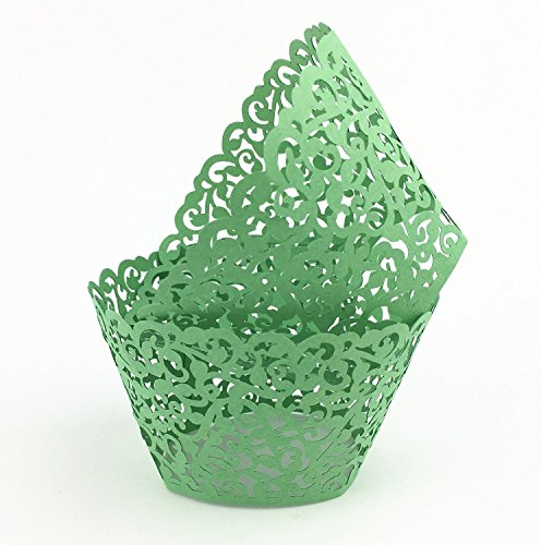 Sorive Vine Cupcake Holders Filigree Vine Designed Decor Wrapper Wraps Cupcake Muffin Paper Holders - 48pcs (green)