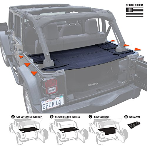 GPCA Wrangler Cargo Cover PRO - Reversible for TOP ON/ TOPLESS Jeep JKU Sports/ Sahara/ Freedom/ Rubicon 4DR unlimited 2007-2017 models