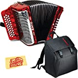 Hohner Rayo 31-Button Diatonic Accordion - Keys G/C/F Bundle with Gig Bag, Straps, and Austin Bazaar Polishing Cloth