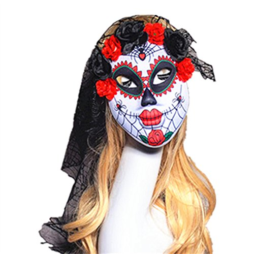 Sweenaly Veil Masquerade Full Face Mask Clown mask Reuse Beautiful Mysterious (Beautiful Full Ostrich)