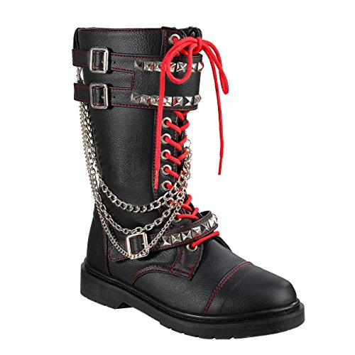 Women Combat Boots Pyramid Studs Lace Up Shoes Black Boots Chains 1 1/4 In Heel