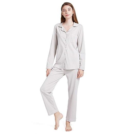 2ee64ab1092c ENIDMIL Women s Pajama Sets Cotton Pajamas Women Long Sleeve Button Up Jersey  Sleepwear Loungewear Set Top and Pants PJ Set