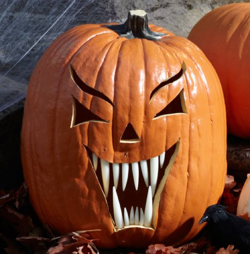 Halloween Pumpkin Carving Kit - Pumpkin Teeth for your Jack O' Latern - Set of 18 Bright White Fang Pumpkin ()