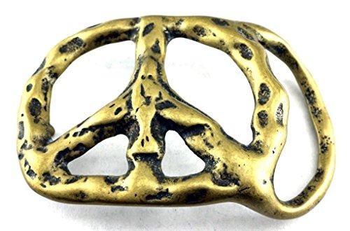 Hippie Peace Belt (Letter Love Faashion Peace Sign Peacesign Hippie Retro Vintage Solid Brass Belt Buckle New)