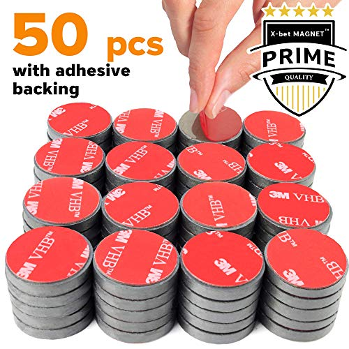 Adhesive Ceramic Magnets – 0.709 Inch (18mm) Round Disc Magnets – Strong Sticky Back – Circle Magnets Ideal for Craft, DIY, Kitchen, Science, Refrigerator, Fridge – 50 PCs Self Adhesive Tiny M