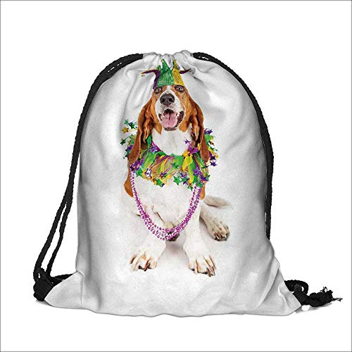 Storage Bag Funny photo of a happy and smiling Bas Hound dog wearing a jester hat neck garland and bead necklace Machine Washable Sturdy Rip-Stop Material  6.5