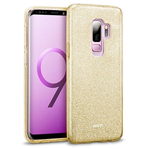 ESR Glitter Galaxy S9+ Plus Case, Sparkle Bling Case Protective Cover [Three Layer] [Supports Wireless Charging] Compatible for The Samsung Galaxy S9+ Plus 5.8 2018 Released,Champagne Gold