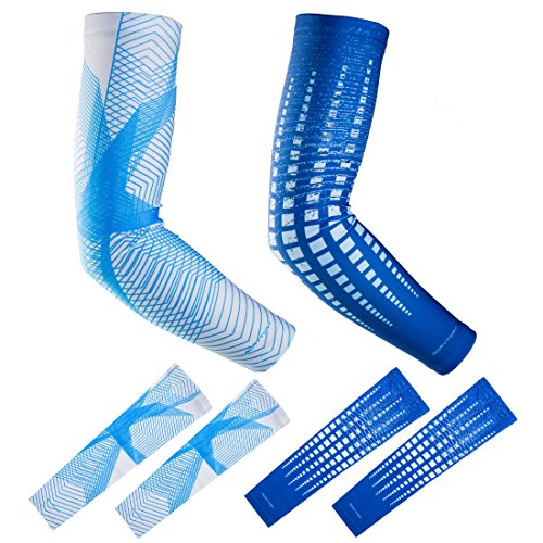 RoryTory Cooling Arm Compression Sleeve Sun Guard - For Women, Men, Kid & Youth - For Outdoor Cycling Bicycle Golfing Basketball Baseball Tennis Soccer Lymphedema - 2 Pairs Blue & Gray Lines, Large