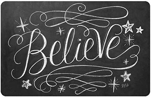 Novelty Believe Mat by Lily Val, 23 x 36 , Black White