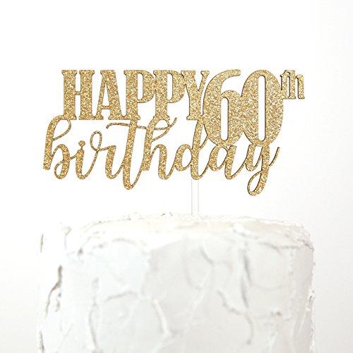 NANASUKO 60th Birthday Cake Topper - HAPPY 60th birthday - Premium quality Made in USA ()