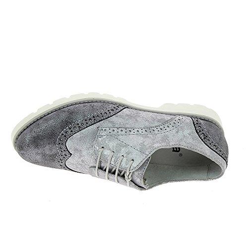 Jana 8-8-23702-28/212-212 - Zapatos de cordones de Piel para mujer gris/plateado