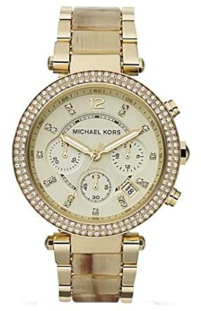 abdabc57429e Image Unavailable. Image not available for. Color  Michael Kors MK5632  Parker Chronograph Champagne Dial Gold Horn Ladies Watch