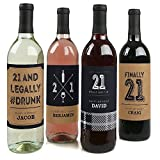 Custom Finally 21 - Personalized 21st Birthday Party Wine Bottle Labels - Birthday Gift Idea - Set of 4