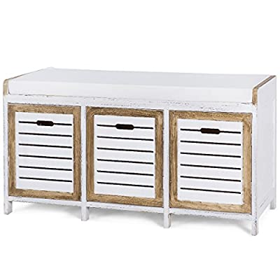 Giantex Storage Bench with Seating Cushion Seat 3 Storage Organizer Bench for Entryway Hallway Living Room - 【Durable Material】: Made of durable paulownia wood construction. You can use it for storage or as a convenient place to sit, is a great storage solution for entryway. 【Hidden Storage Space】: Includes three storage bins, offer storage for household items. The compartment is great to store shoe polish, brush, towel, socks, key and other sundries, easy to access. 【Comfortable Seat】: The 2''cushion seat for superior comfort, and the cushion is removable, is easy to clean and maintain. The cushion placed on the top shelf provides seating could help you either relax or put on your shoes on the go. - entryway-furniture-decor, entryway-laundry-room, benches - 51Xqf5epFHL. SS400  -