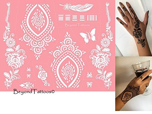 Reusable Micronet Mesh Stencil Tattoo Stencil Template 6 Large Sheet Set Pink by TIE (Image #2)