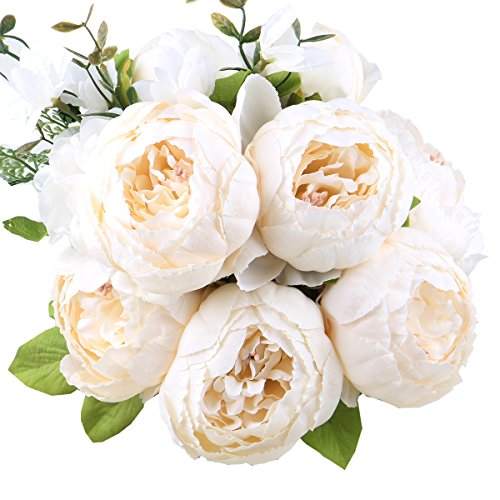 Leagel Fake Flowers Vintage Artificial Peony Silk Flowers Bouquet Wedding Home Decoration, Pack of 1 (Spring White) (Bouquet Peony Flower)