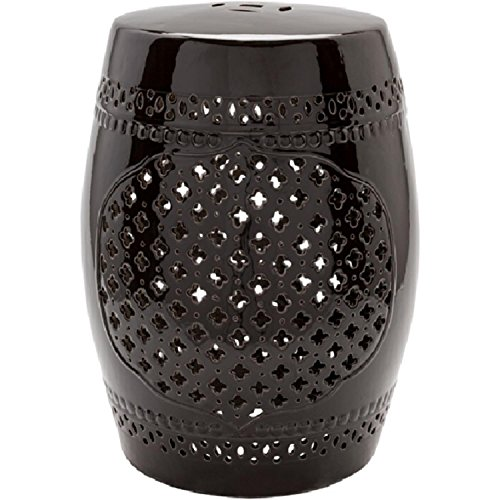 "Diva At Home 18"" Auburndale Charcoal Black Outdoor Decorative Ceramic Garden Stool from Diva At Home"