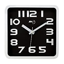 Maytime Christmas Gift Modern contemporary Clear 2D Number Indoor Square Wall Clock Quartz Silent Black 9 Inch