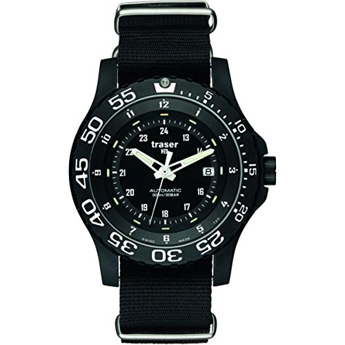 Case Watch Resin Dive (Traser 100267 P66 Automatic Pro Tactical Swiss Dive Watch, Black Nato Strap)