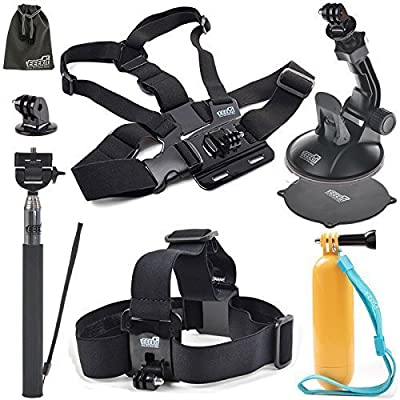 EEEKit 5in1 Accessories Starter Kit for Box DareDVL 2.0 WIFI Action Camera,Head Strap,Floaty Grip Pole,Chest Harness and Selfie Stick Monopod Pole