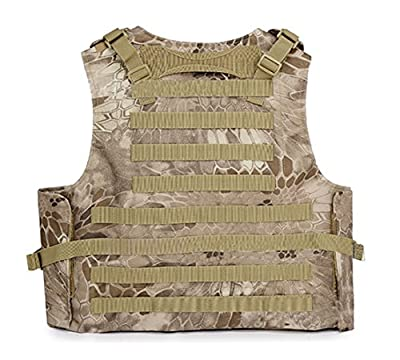 ESA Supplies Tactical Molle Airsoft Vest Paintball Combat Training Vest Soft Vest Tan Python Pattern