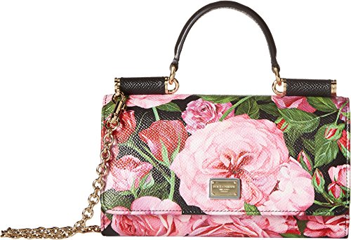 Dolce & Gabbana Women's Floral Printed iPhone Bag Black/Pink Floral One Size by Dolce & Gabbana