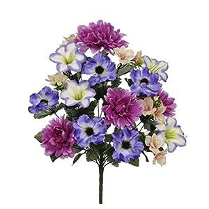 House of Silk Flowers Artificial 22-inch Violet/Purple Dahlia/Lily/Anemone Bush x2 88