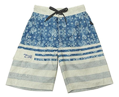 SAFS Men's Board Shorts Paisley Earth Color - Swimwear - Casual Shorts Blue 4L