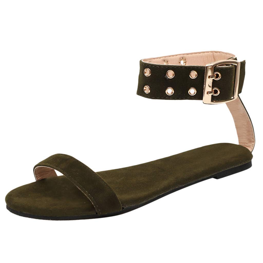 Midress Flat with Sandals Fashion Women Ladies Summer Flat Buckle Casual Shoes Buckle Strap Sandals