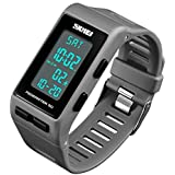 Mens Digital Sports Waterproof Watch with Pedometer Calorie Counter Running Black Wristwatch for Adults