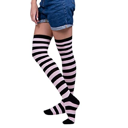 ce1d747963734 Image Unavailable. Image not available for. Color: ShenPr Women Sexy Stripes  Horizontal Stripes Zebra Stripes Thigh High Over-Knee Socks Long Stockings
