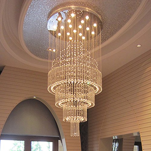 Moooni Large Modern Luxury Crystal Chandelier Lighting for Living Room Porch Hallway D 31.5″ x 79″ H For Sale