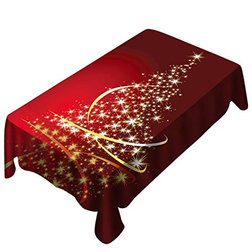 Digood Xmas Tree Printed Table Cloth, Washable Polyester Oblong Tablecloth Dinner Picnic Red Table Cloths Home Party Decoration Assorted Size (59x59 Inch)