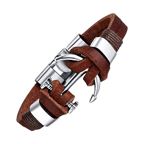 Veuer 100% Echt Leder Surfer-Armband in Braun Anker Schmuck für Herren Edelstahl Geschenk zu Weihnachten für Männer , Freund , Ehe-Mann VD41