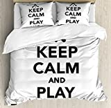 Hockey King Size Duvet Cover Set by Ambesonne, Keep Calm and Play Fieldhockey Phrase in Black and White with Sticks and Ball Icon, Decorative 3 Piece Bedding Set with 2 Pillow Shams, Black White