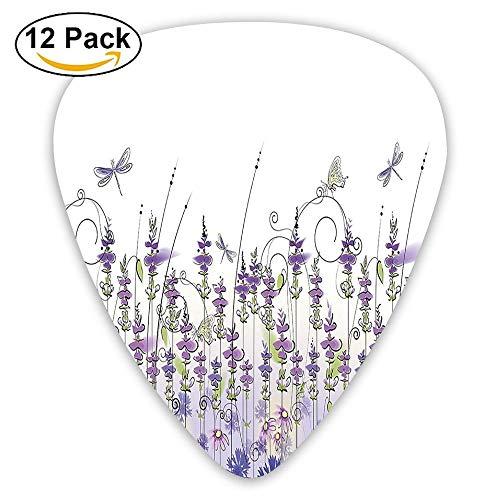 (Lavender Field Meadow Pattern Rural Countryside Plants Flowers Artsy Design Guitar Picks 12/Pack Set)
