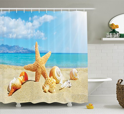 Seashells Decor Shower Curtain Set By Ambesonne, Summer Beach Theme And Sand With Starfish Seashells Rays in The Sky Clouds Seaside Marine, Bathroom Accessories, 69W X 70L Inches