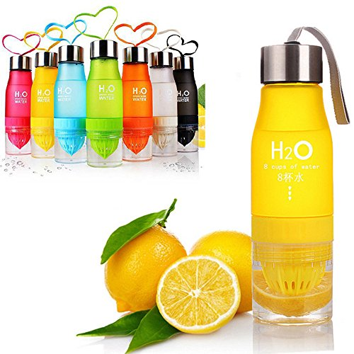 CoolKo Newest Leak Proof Portable 650ML Yellow H2O Infuser Sports Water Bottle Health Juice Fruit Squeezer Cup, Own Natural Flavored Fuit Infused Water for Healthy Drinks - Stainless Steel Bottle