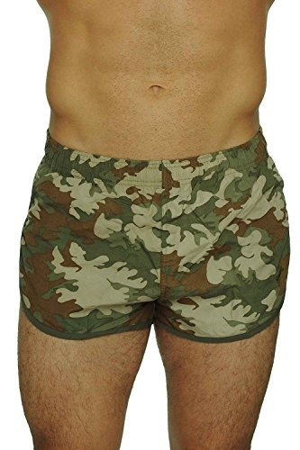 UZZI Men's Basic Running Shorts Swimwear Trunks 1830 Camo Olive L by UZZI