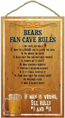 "Seattle Man Cave Rules 10"" x 16"" Wood Sign"