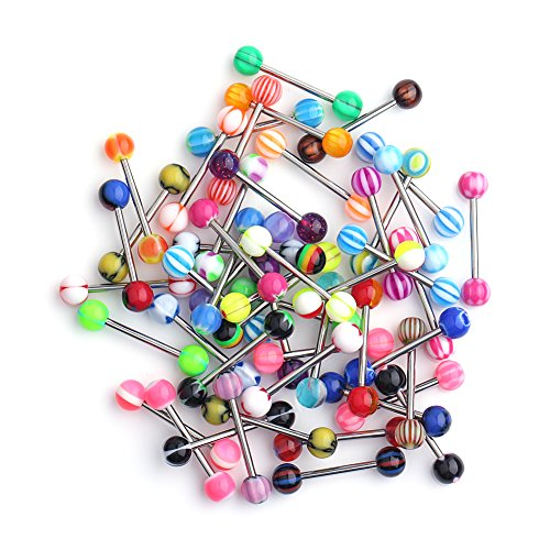 14g Straight Barbell - Ruifan 14G 16mm Assorted Mix Color Flexible Acrylic Shaft Straight Tongue Rings Barbells or Nipple Piercings Retainer 50PCS